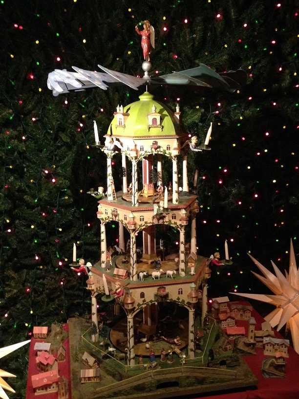 """A traditional """"German Christmas Pyramid"""" typically depicts religious scenes."""