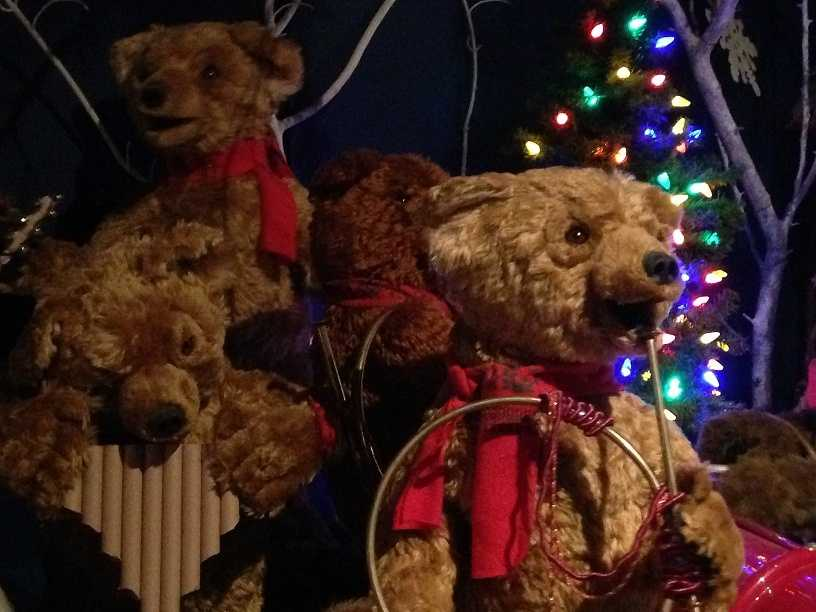 """A """"Teddy Bear Jamboree"""" moves and plays music as guests walk by."""