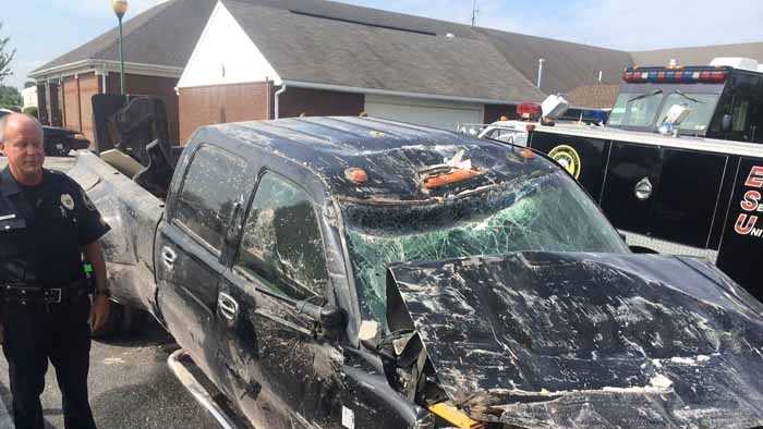 Police say the man driving this truck rammed a police cruiser late Sunday night before crashing into a pet funeral home in York County.