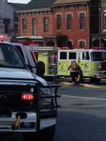 Fire destroyed the second floor of an apartment building in Columbia, Lancaster County, Wednesday morning. Witnesses said a window air conditioner unit caught fire and then blew up.