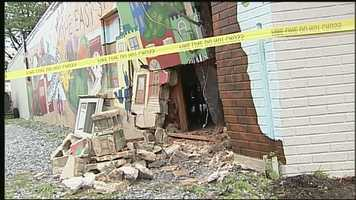 The driver of a minivan left a gaping hole in the wall of the East Side Community Kitchen on North Plum Street in Lancaster on Sunday.