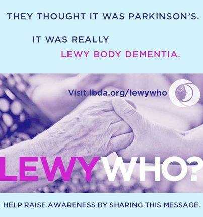 On her Facebook page, Kim shares information about Lewy body dementia, the disease her husband was diagnosed with five years ago.