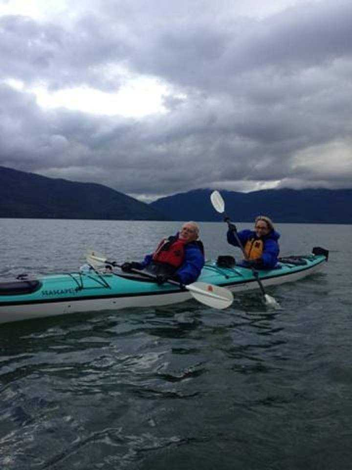 Kim and her father kayaked six miles in the Pacific Ocean outside Wragell, Alaska.
