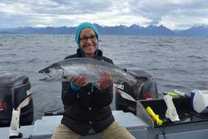 Kim caught this 20-pound silver salmon in Sitka, Alaska.