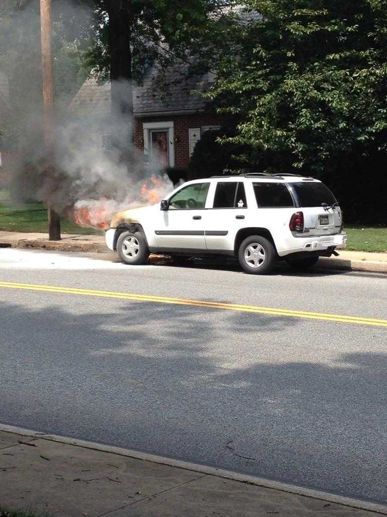 Crews worked to put out a car fire on the 900 block of W. Main Street in Ephrata Tuesday afternoon.