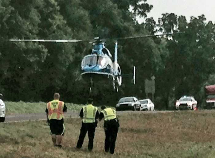 One victim was flown to the hospital. Another was taken by ground.