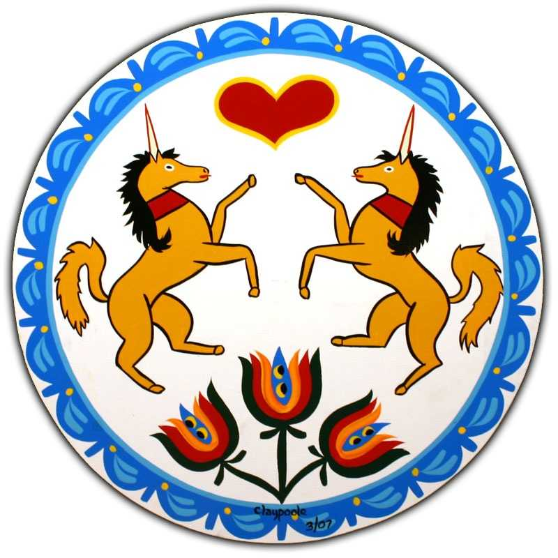 """A """"Unicorn Hex"""" is pictured that symbolizes """"virtue and plenty."""""""