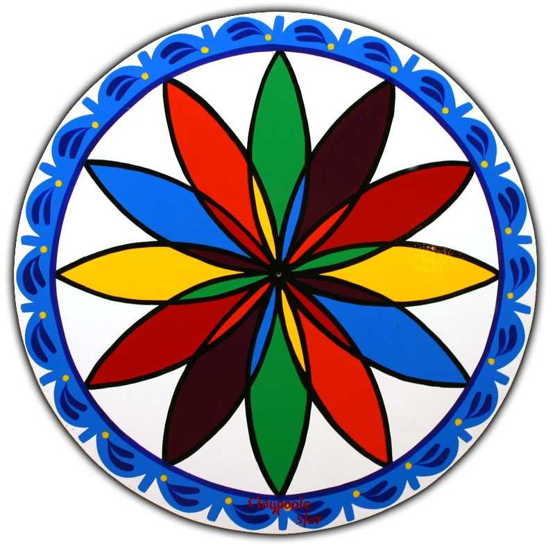 """A """"Triple Rossette"""" design symbolizes good luck, success and happiness. The border means """"smooth sailing through life."""""""
