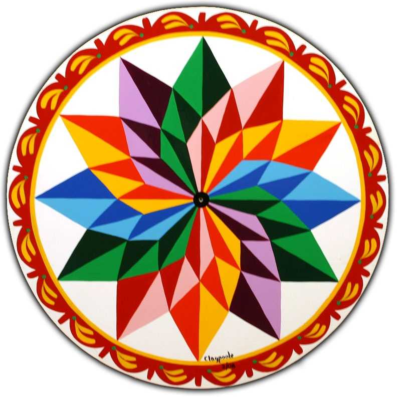 """This """"Claypoole Hex"""" is named for the artist, Eric Claypoole. The 12-pointed star is meant to bring """"color into your life"""" 12 months a year."""