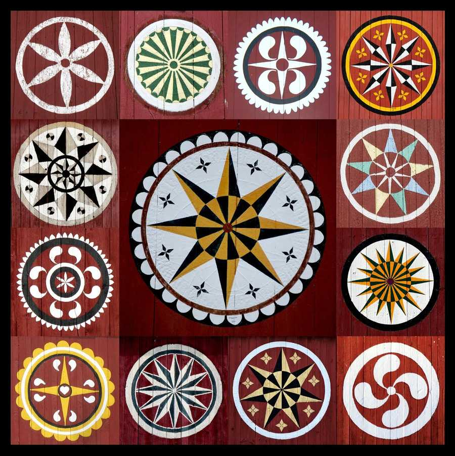 """This photo features an array of barn stars from various Pennsylvania barns. Patrick Donmoyer, author of the book """"Hex Signs: Myth and Meaning in Pennsylvania Dutch Barn Stars,"""" says the two most common reasons that farmers paint barn stars are for decoration and good luck."""
