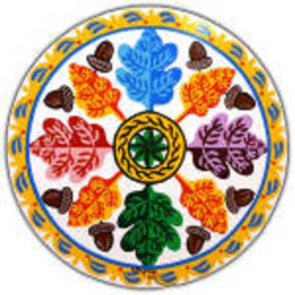 """This design, """"The Mighty Oak,"""" features a rosette in the center to """"keep away all ills."""" The """"eternal chain"""" aspect means """"to keep together."""" The oak leaves and acorns are for strength in mind and body. The border and ocean is for """"smooth sailing in the autumn years of your life."""""""