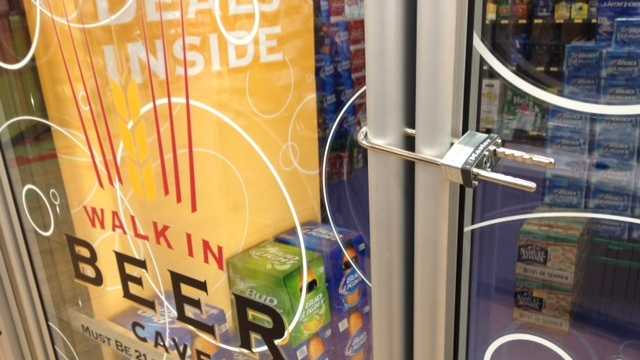 The beer fridge is locked at the Shippensburg Sheetz.