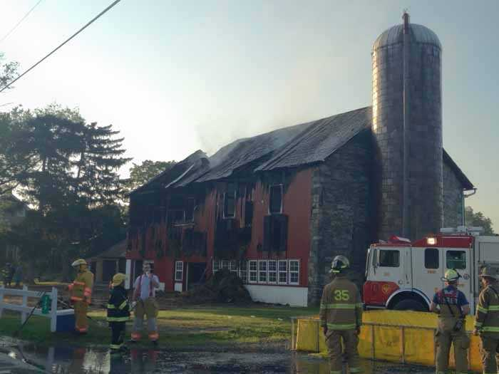 Crews in Lebanon County battled a bar fire Thursday morning.