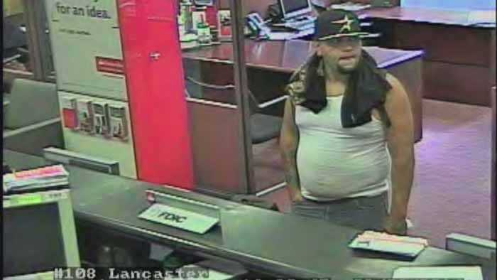 Police are looking for the man who robbed a Lancaster bank on Wednesday.