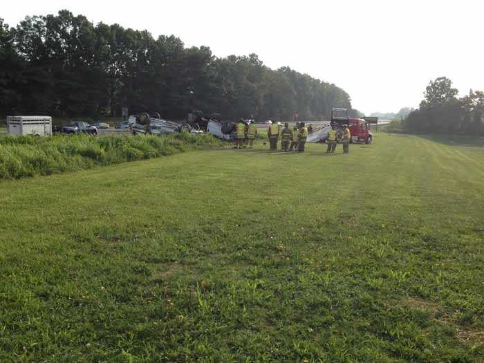 The crash happened around 7:20 a.m. when police say a Pennsy Supply truck swerved from the eastbound lanes of 30 into the on ramp at Stony Battery Road where it hit a silver vehicle.