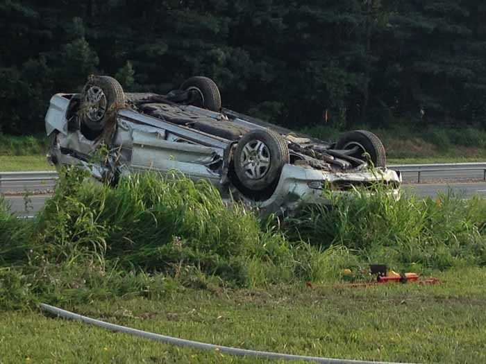 The driver of the silver vehicle was taken to the hospital with shoulder soreness. The truck driver was not hurt.