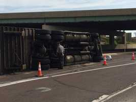 It overturned in the eastbound lanes of Route 30 near the I-83 overpass.