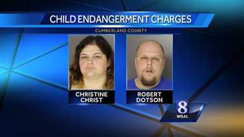 Police said Christine Christ, 41, and Robert Dotson, 30, lived with two children in a home on Westminster Court that was covered in household and animal waste, including broken glass.