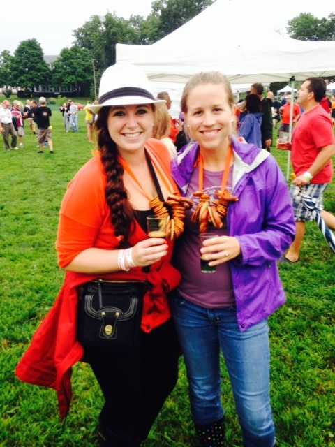 Attendees Kaila Gaines of East Berlin and Sara Wampler of Gettysburg made their own pretzel necklaces for the event.