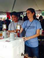 Roy Pitz Brewing Company's Desiree Rotz poured beer to guests at Gettysburg Brew Fest. Roy Pitz is located in Chambersburg, Franklin County.