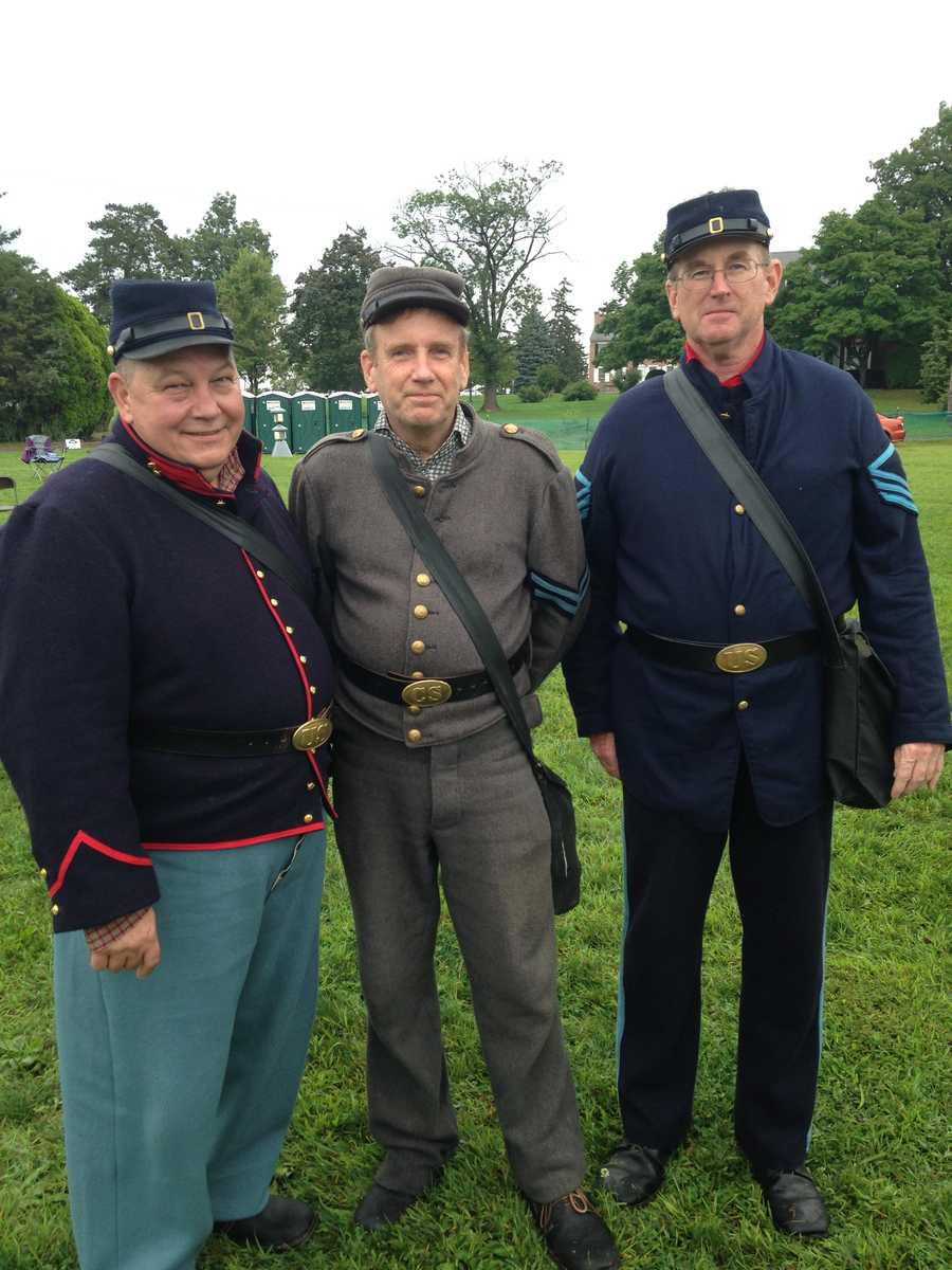 Reenactors Robert Scarboro, John Hawkins and Greg Cook mingled with the crowd on the battlefield. The trio hail from Stockton, New Jersey, but say they frequently travel to Gettysburg for events.