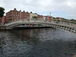 The Ha'penny Bridge was built in the 1800s and is a cast iron structure.