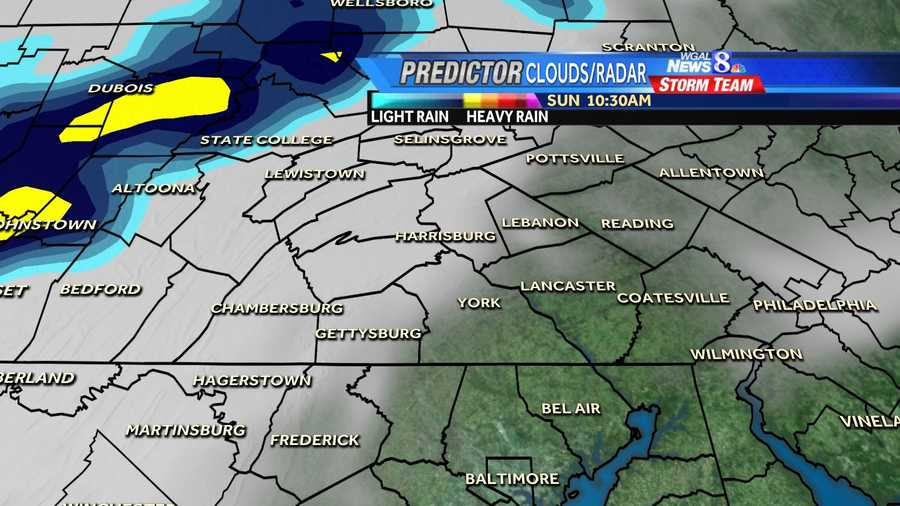 Scattered storms are expected in the Susquehanna Valley today. These graphics show hour-by-hour projections.