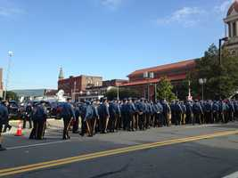 The funeral service has begun for 38-year-old Cpl. Bryon Dickson, thePennsylvania state trooper killed in an ambush outside his barracks.