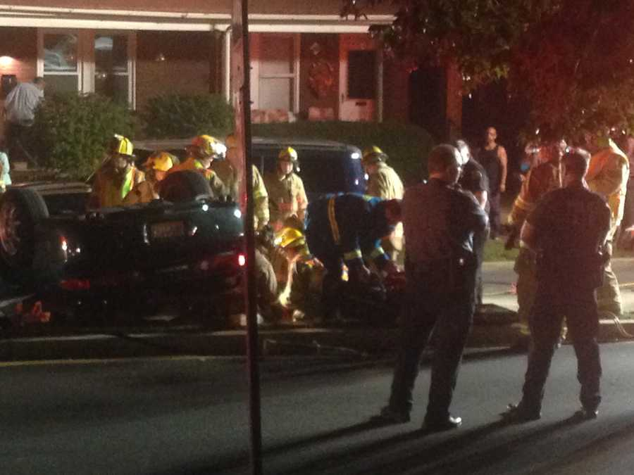 Police said just before 8 p.m. Tuesday a vehicle hit a parked SUV on the 600 block of South West End Avenue.