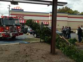 The car was traveling through a Turkey Hill parking lot on Stone Mill Road when it suddenly drove through a line of trees and struck a parked minivan in the KFC lot.