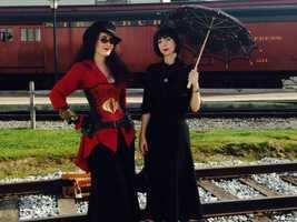 "An array of Victorian Era and Industrial Revolution fans - also known as ""Steampunks"" - gathered at the Strasburg Rail Road grounds last month. Pictured: Steampunk enthusiasts Aleta Pardalis of Long Island, Ny. and Melisa Fate of Coopersburg, Pa."