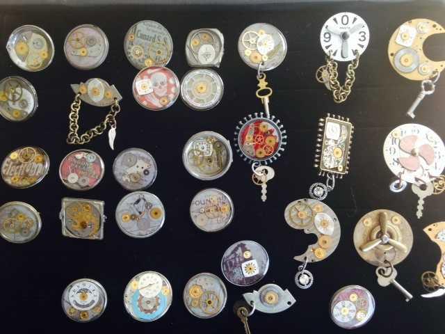 Steampunk pins, made by Bradley.