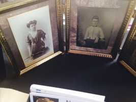 On display: Old Victorian photos.