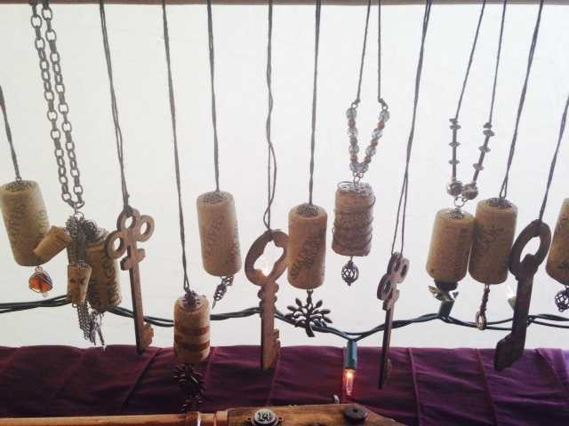 Skeleton key and cork necklaces made by Roguish Rabbit.