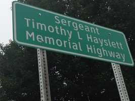 While serving a tour in Baghdad in 2003, Timothy Hayslett of Newville died when an IED hit his Humvee. In Timothy's honor, a part of 233 was dedicated in his name.