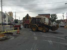The sinkhole was discovered under the sidewalk while repairs were underway.