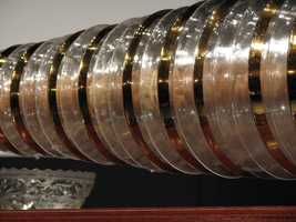 Franklin worked with a glassblower who helped him create glass bowls of varying sizes which were fitted next to one another. The glass armonica was extremely popular in the 18th century and was one of Franklin's most prized invention.(Source: The Franklin Institute)