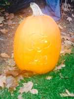 """This pumpkin features """"Snoopy,"""" the favorite canine character from """"Charlie Brown."""""""