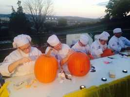 Students from the Pastry and Culinary Arts program at Lebanon County's Career and Technology Center were on hand to teach children about pumpkin carving.