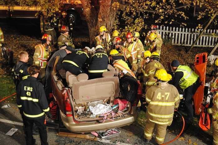 Paradise Leaman Place Fire Company Chief Pat Cosgrove says two women were killed and three other people injured when a minivan left the road and crashed into a tree around 5 a.m. Sunday on the 3100 block of Lincoln Highway East in Paradise Township, Lancaster County.