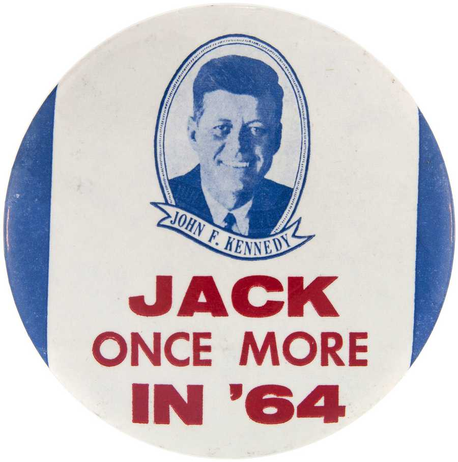 4-inch button produced in anticipation of John F. Kennedy's 1964 campaign, one of fewer than six known, est. $2,000-$5,000.