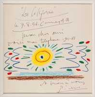 Pablo Picasso (Spanish, 1881-1973), 'Soleil de Mediterranee,' original wax pastel artwork, 23 x 24in framed, 8 x 8¼in matted, provenance from the artist's daughter, Maya Widmaier-Picasso, est. $35,000-$50,000.