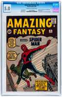 'Amazing Fantasy' #15, Marvel Comics, featuring the debut appearance of The Amazing Spider-Man, August 1962, CGC graded 5.0 VG/Fine, est. $10,000-$20,000.