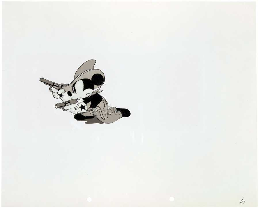 Mickey Mouse 'Two-Gun Mickey' (1934) original black & white nitrate production cel, est. $5,000-$10,000.
