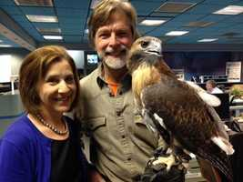 Pictured: Medical Reporter Susan Shapiro, Jack Hubley and red-tailed hawk, Spike.