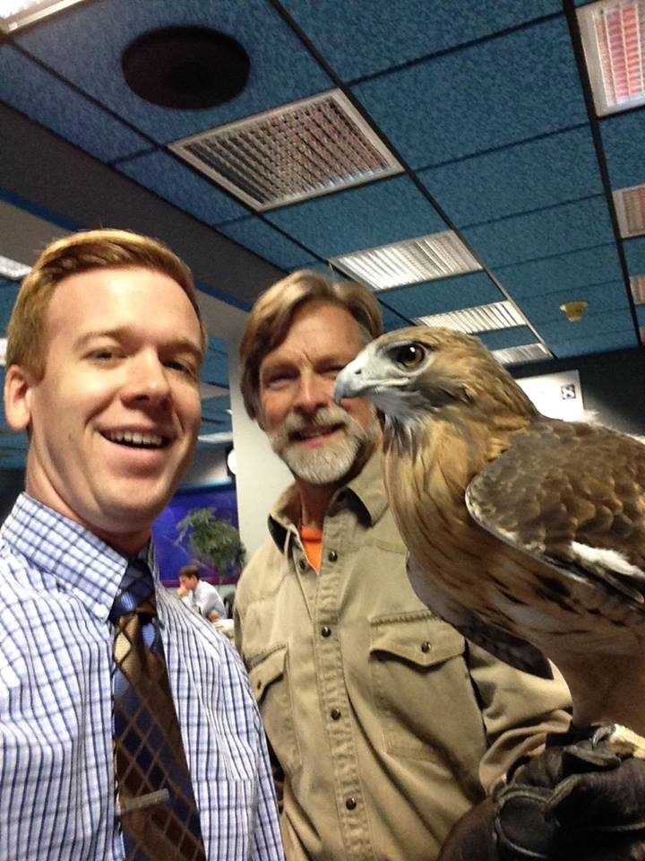 Pictured: News 8 assignment editor Bill Decker, Jack Hubley and Spike.