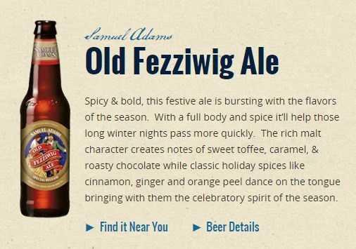 Old Fezziwig Ale from Samuel Adams Brewing Company in Boston, Massachusetts.