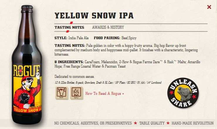 Yellow Snow IPA from Rogues Ales in Newport, Oregon.