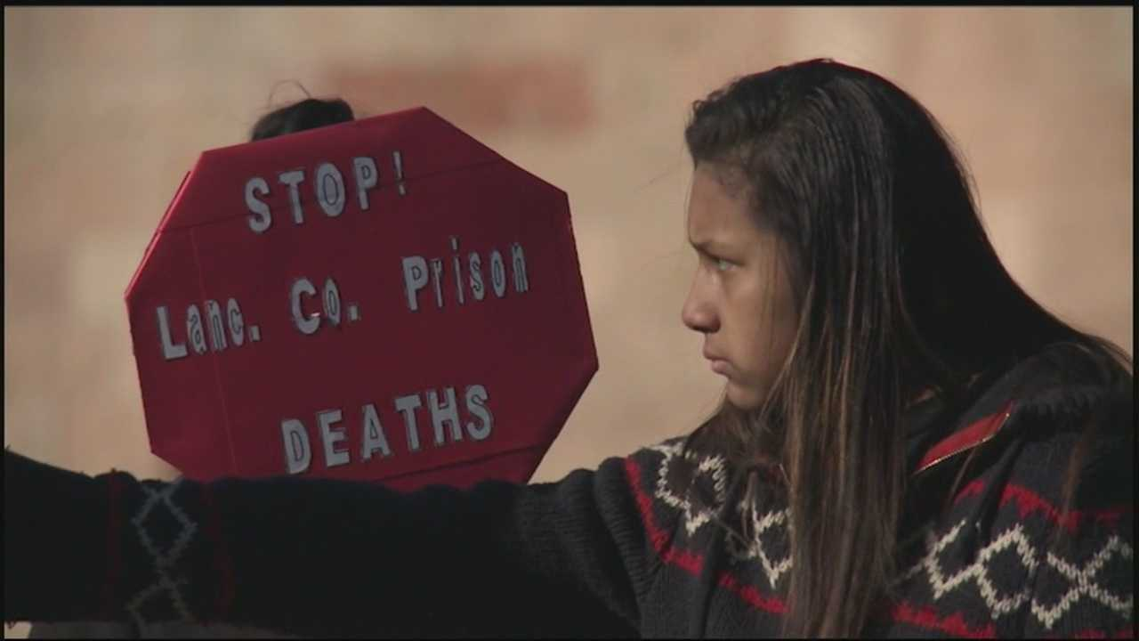 Protesters call for action after recent suicides at the Lancaster County Prison.
