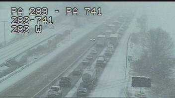 Traffic backs up near the Route 741 exit.